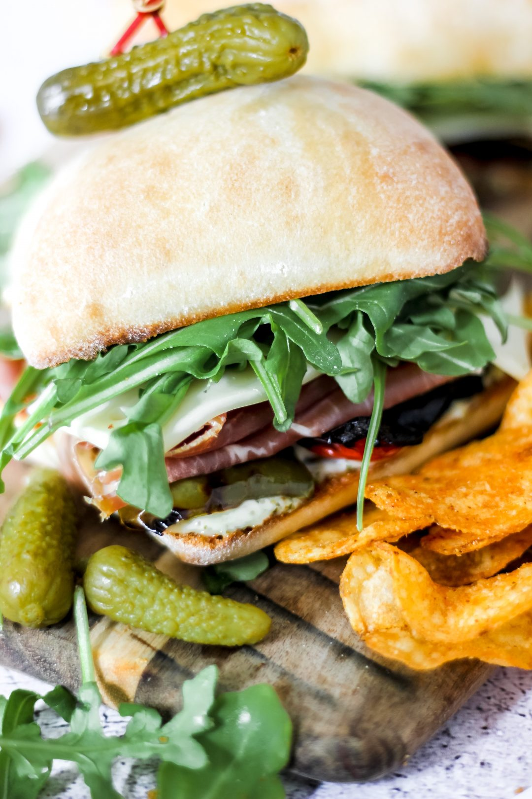 Prosciutto and Roasted Pepper Sandwich with Pesto Mayo and Kettle Chips