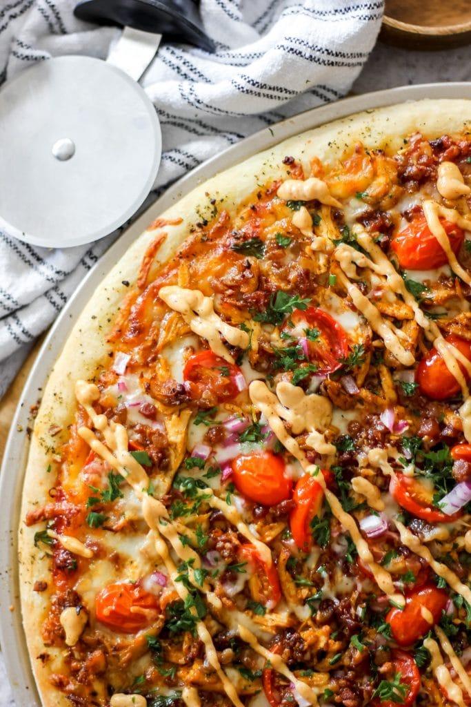 Homemade Chipotle BBQ Chicken Pizza_Overhead