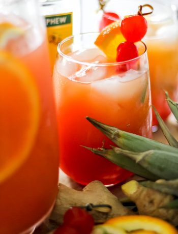 Tropical Rum Punch in Pitcher and Glass
