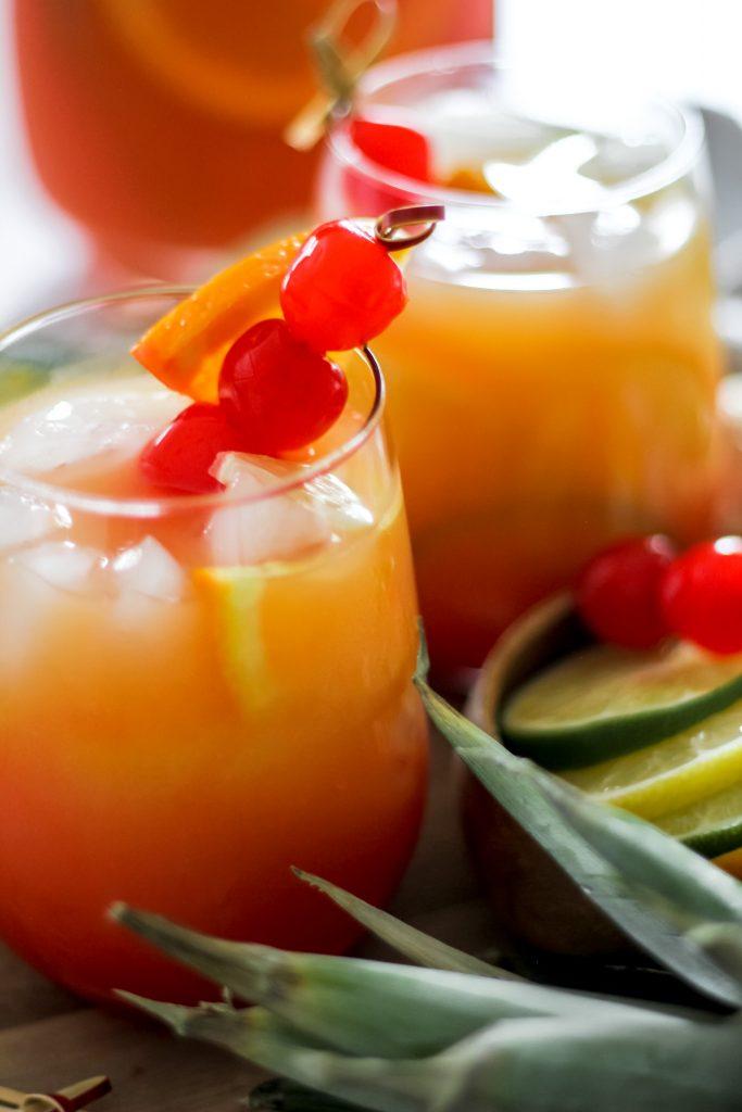 Tropical Rum Punch w/ Cherries
