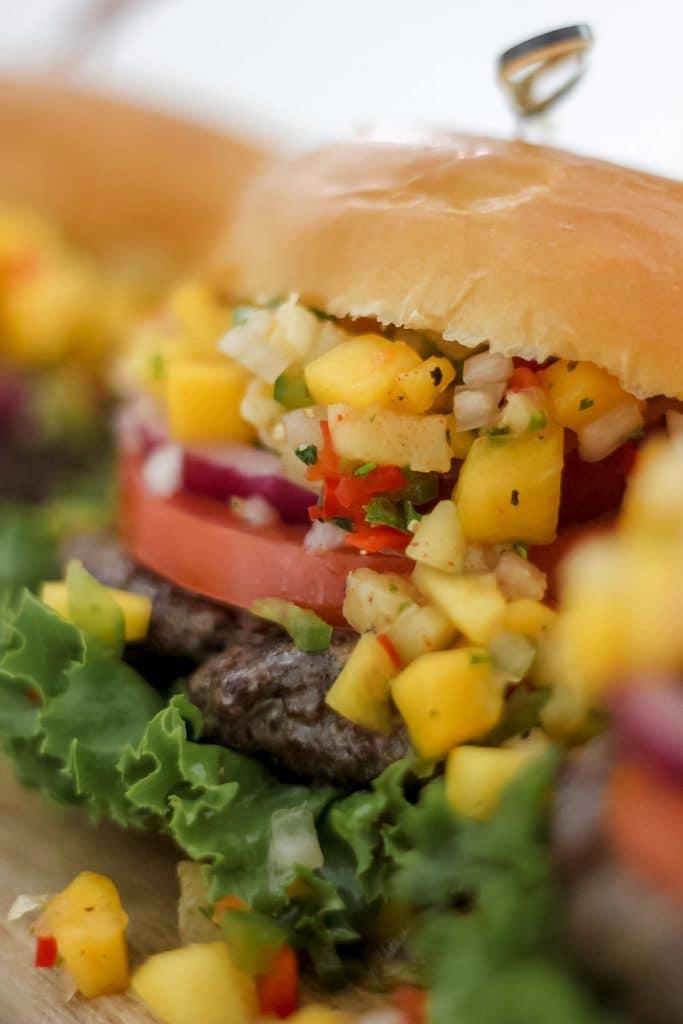 Jerk Burgers with Pineapple Mango Salsa Up Close