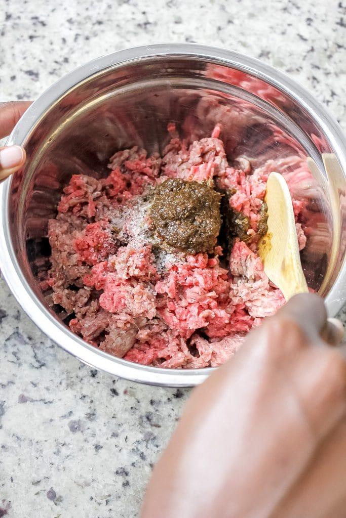 Mixing Ingredients for Jerk Burgers