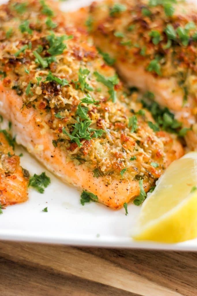 Parmesan Herb Crusted Salmon with Lemon Wedge