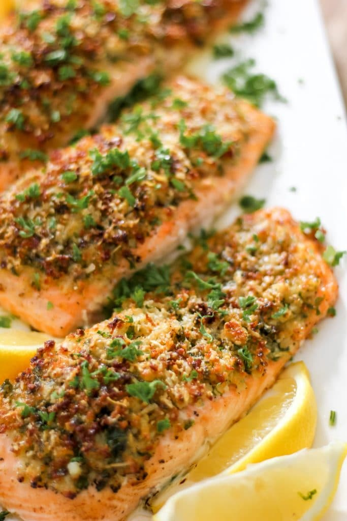 3 Parmesan Herb Crusted Salmon Fillets on Plate