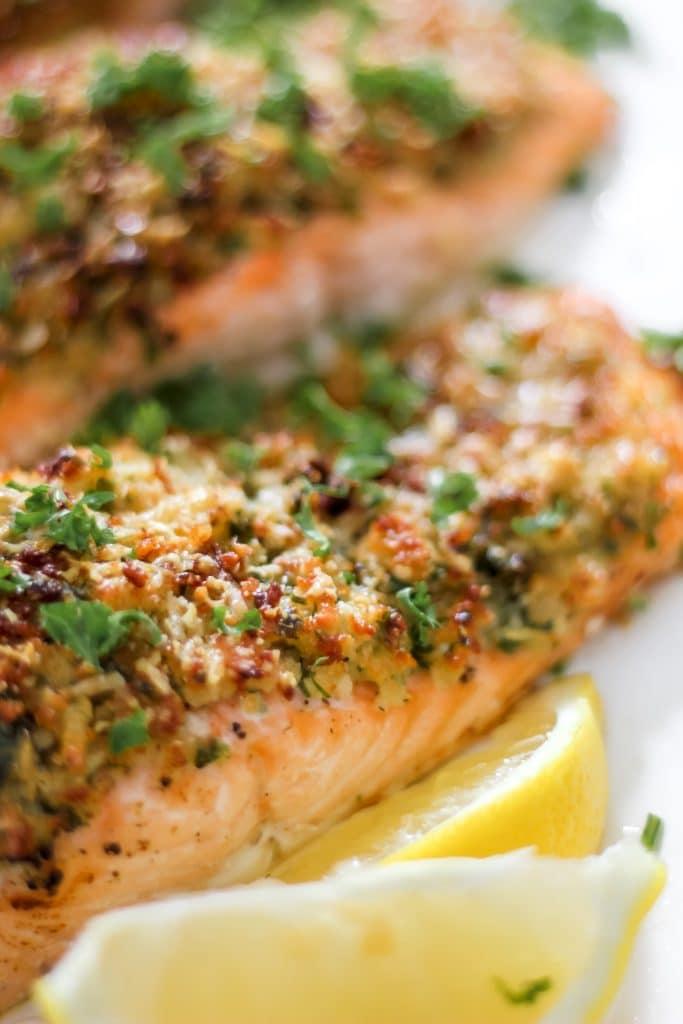 Salmon on White Serving Dish