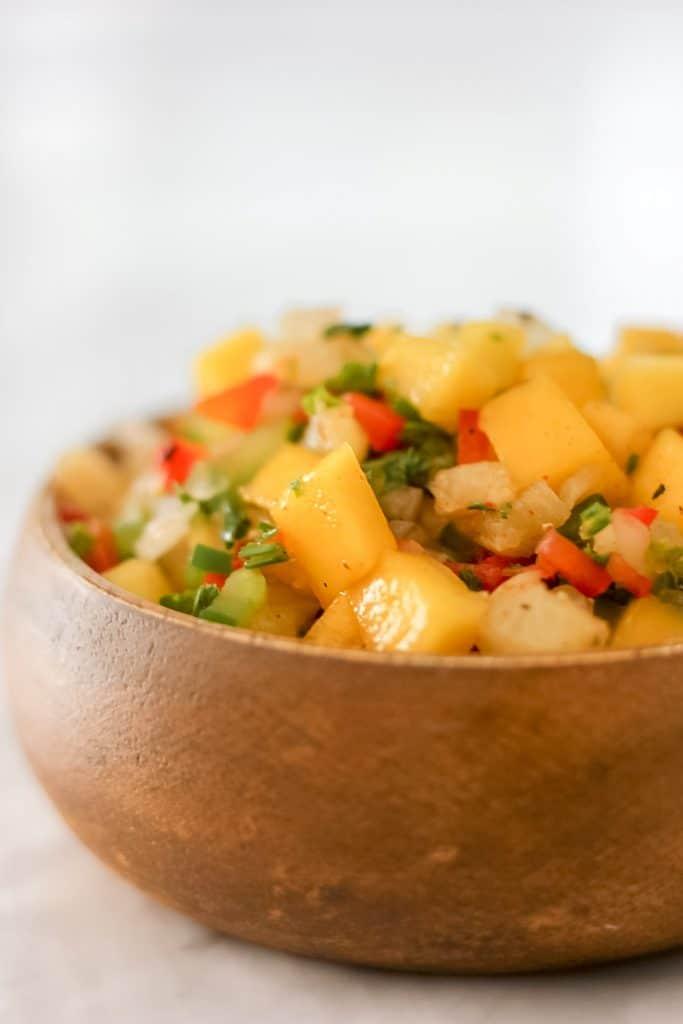 Pineapple Mango Salsa in Wooden Bowl