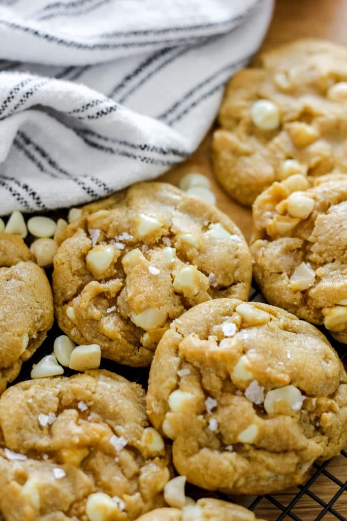 Flatlay of Brown Butter White Chocolate Macadamia Nut Cookies