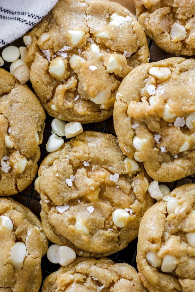 Brown Butter White Chocolate Macadamia Nut Cookies Overhead Shot