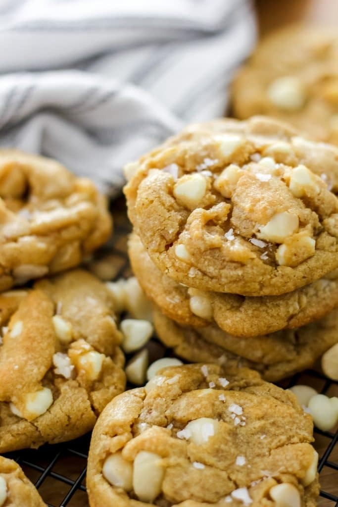 Stack of 3 Brown Butter White Chocolate Macadamia Nut Cookies