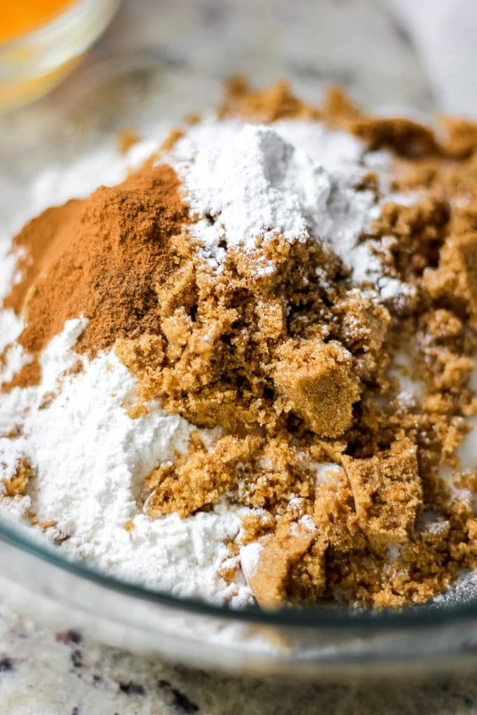 Easy Coffee Cake Muffins Dry Ingredients in a Bowl