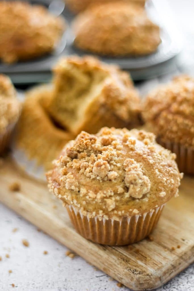 Easy Coffee Cake Muffins on Wooden Board